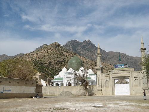 Distant view of Mazar Sharif Darbar-e-Alia Hazrat Khawaja Zinda Peer, Ghamkol Sharif, KOhar, Pakistan