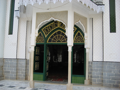 Entrance to Darbar-e-Alia Ghamkol Sharif Mosque, Kohat, Pakistan