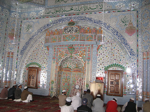 Main view of Darbar-e-Alia Ghamkol Sharif Mosque, Kohat, Pakistan