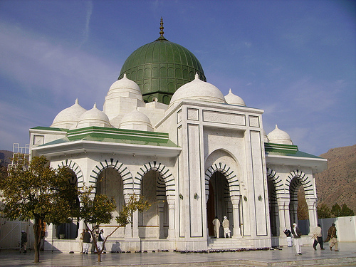 Mazar Sharif - Darbar e Alia Ghamkol Sharif Hazrat Khwaja Zinda Pir Sahib (RA)- Outside view, beautiful blue sky